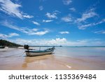 side view of a wooden fishing... | Shutterstock . vector #1135369484