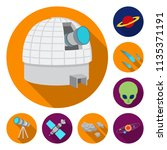 space technology flat icons in... | Shutterstock .eps vector #1135371191