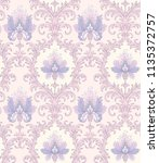 baroque style pattern with blue ... | Shutterstock .eps vector #1135372757