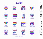 lgbt thin line icons set  gay ... | Shutterstock .eps vector #1135374371