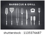barbecue  grill set. poster bbq ... | Shutterstock .eps vector #1135376687