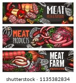 meat and sausage chalkboard... | Shutterstock .eps vector #1135382834