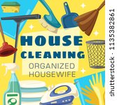 house cleaning poster with...   Shutterstock .eps vector #1135382861