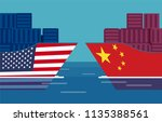 china and united states trade... | Shutterstock .eps vector #1135388561