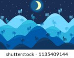 abstract night landscape with...   Shutterstock .eps vector #1135409144