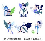 young woman doing sports set  ...   Shutterstock .eps vector #1135412684