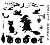 halloween cartoon  set black... | Shutterstock .eps vector #113541601