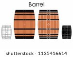 barrel colored and outline | Shutterstock .eps vector #1135416614