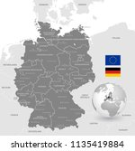grey vector map of germany with ... | Shutterstock .eps vector #1135419884