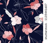 tropical vector seamless flower ...   Shutterstock .eps vector #1135441607