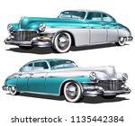 retro blue white car isolated... | Shutterstock .eps vector #1135442384