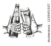 two hands with beer bootle and... | Shutterstock .eps vector #1135451537