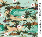 bright summer hawaii  seamless... | Shutterstock .eps vector #1135451594