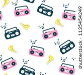 recorder pattern. retro style... | Shutterstock .eps vector #1135454249