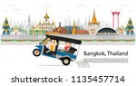 thailand and travel in bangkok... | Shutterstock .eps vector #1135457714