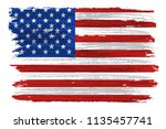 grunge usa flag.dirty american... | Shutterstock .eps vector #1135457741