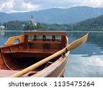 Rowboat at lake bled in slovenia