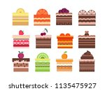 sweet cupcakes  pies and tortes ... | Shutterstock .eps vector #1135475927