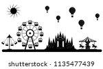 vector amusment park skyline | Shutterstock .eps vector #1135477439