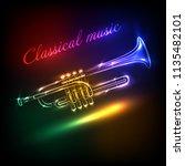jazz club neon vector.classical ... | Shutterstock .eps vector #1135482101