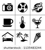 vector travel icons  vacation... | Shutterstock .eps vector #1135483244