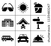vector travel icons  vacation... | Shutterstock .eps vector #1135483247