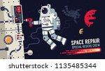 astronaut in  spacesuit repair... | Shutterstock .eps vector #1135485344