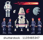 space set in the flat style  ... | Shutterstock .eps vector #1135485347