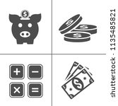 vector piggy banking icons set  ... | Shutterstock .eps vector #1135485821