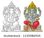ganpati with mouse for poster... | Shutterstock .eps vector #1135486934