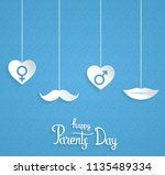 parents day poster with hanging ... | Shutterstock .eps vector #1135489334