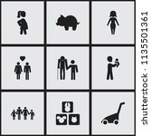 set of 9 editable family icons. ... | Shutterstock . vector #1135501361