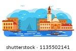 venece city of italy gondola ... | Shutterstock .eps vector #1135502141