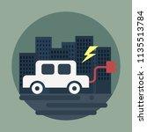 electric vehicle flat design... | Shutterstock .eps vector #1135513784