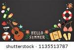 summer background.hello summer... | Shutterstock .eps vector #1135513787