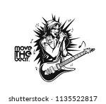 rockstar singer playing guitar  ... | Shutterstock .eps vector #1135522817