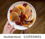 pancakes with blueberry ... | Shutterstock . vector #1135534031