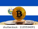 bitcoin btc on stack of... | Shutterstock . vector #1135534091