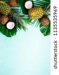 exotic pineapples  ripe... | Shutterstock . vector #1135535969