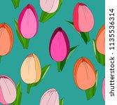 seamless pattern with tulips.... | Shutterstock .eps vector #1135536314