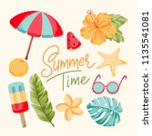 tropical summer elements | Shutterstock .eps vector #1135541081