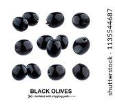 Black Olives Isolated On White...