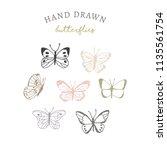 set of hand drawn butterflies | Shutterstock .eps vector #1135561754