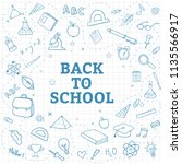 back to school background with... | Shutterstock .eps vector #1135566917