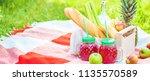 picnic basket  fruit  juice in... | Shutterstock . vector #1135570589