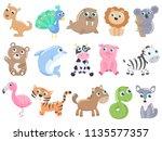 cute cartoon animals set. | Shutterstock .eps vector #1135577357