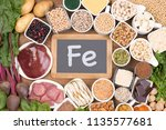 food rich in iron | Shutterstock . vector #1135577681