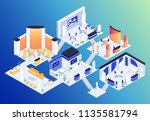 isometric exhibition hall. 3d... | Shutterstock .eps vector #1135581794