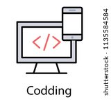 a html source code on monitor... | Shutterstock .eps vector #1135584584