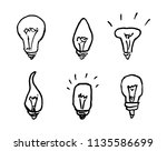 handdrawn bulbs set doodle icon.... | Shutterstock .eps vector #1135586699